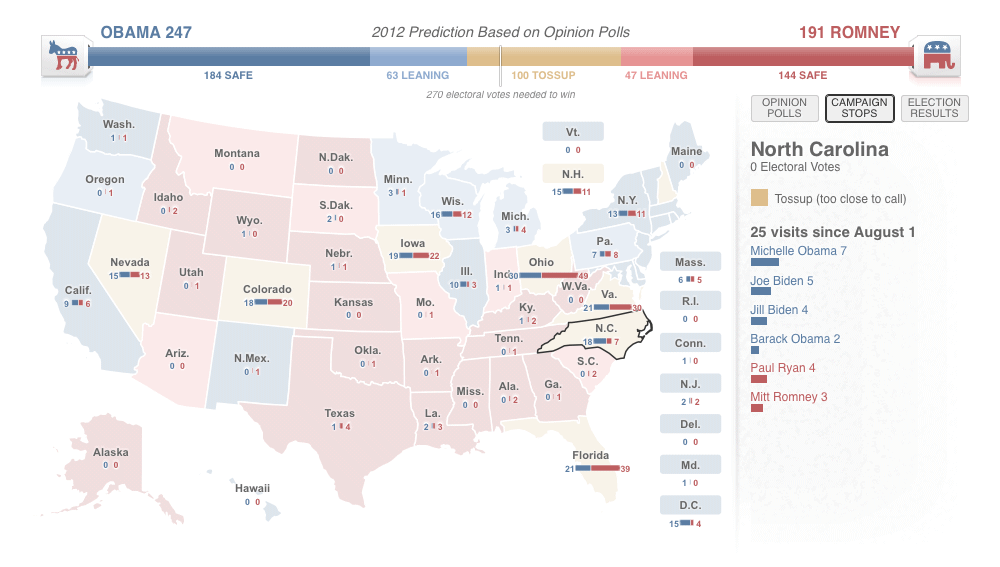 2012 US Presidential election map: Campaign stops